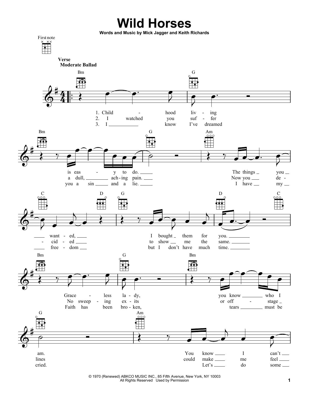 Tablature guitare Wild Horses de The Rolling Stones - Ukulele