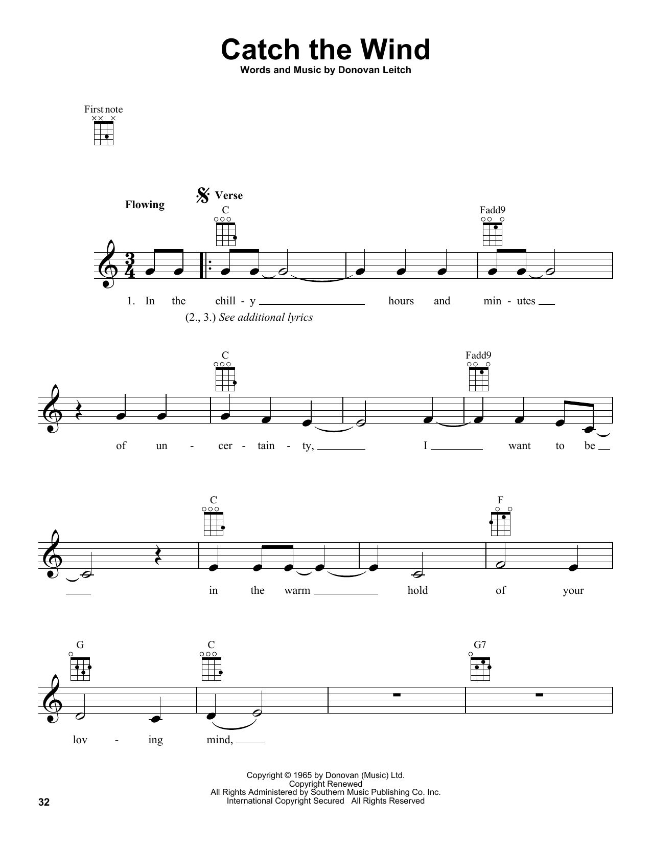 Tablature guitare Catch The Wind de Donovan - Ukulele