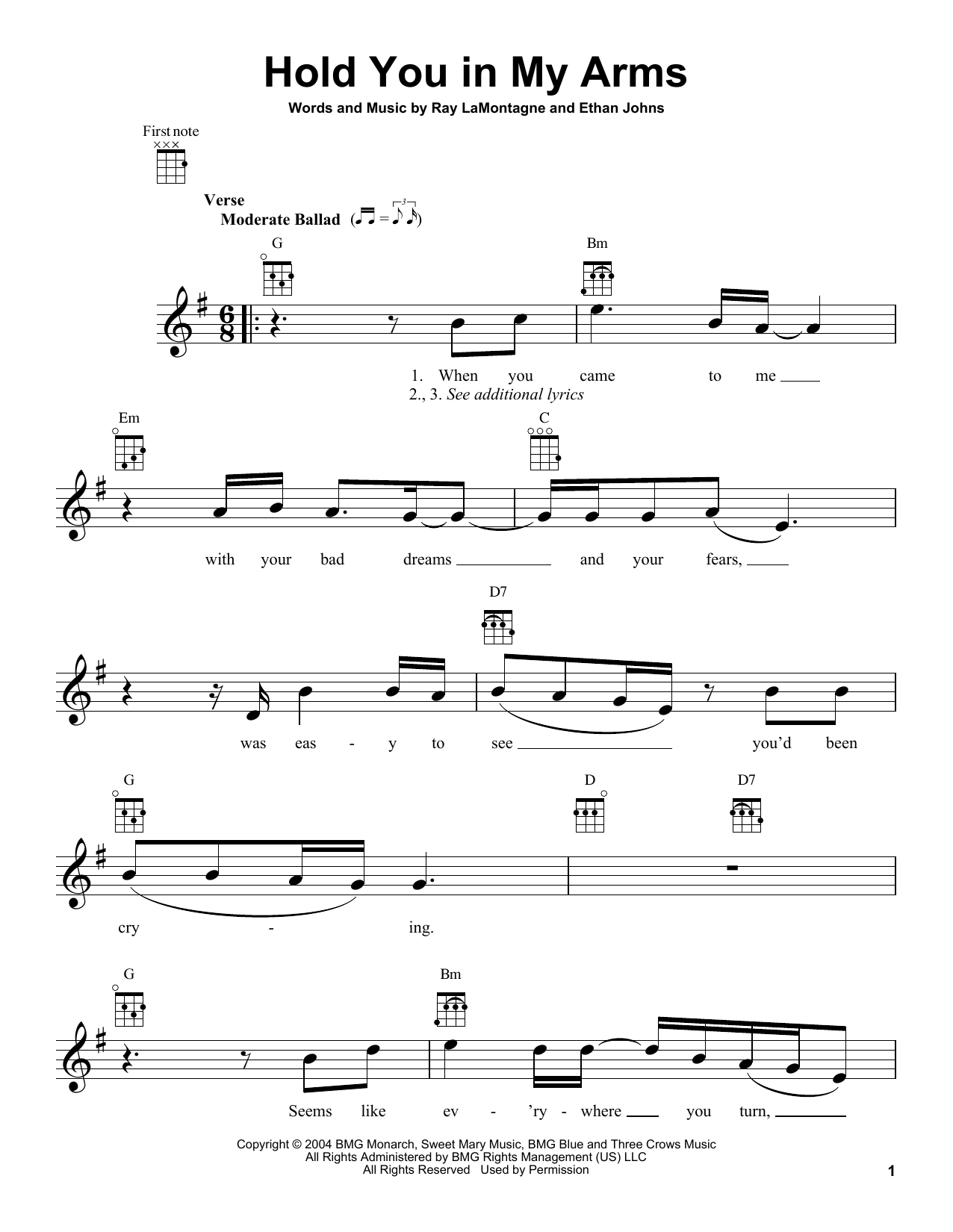 Tablature guitare Hold You In My Arms de Ray LaMontagne - Ukulele