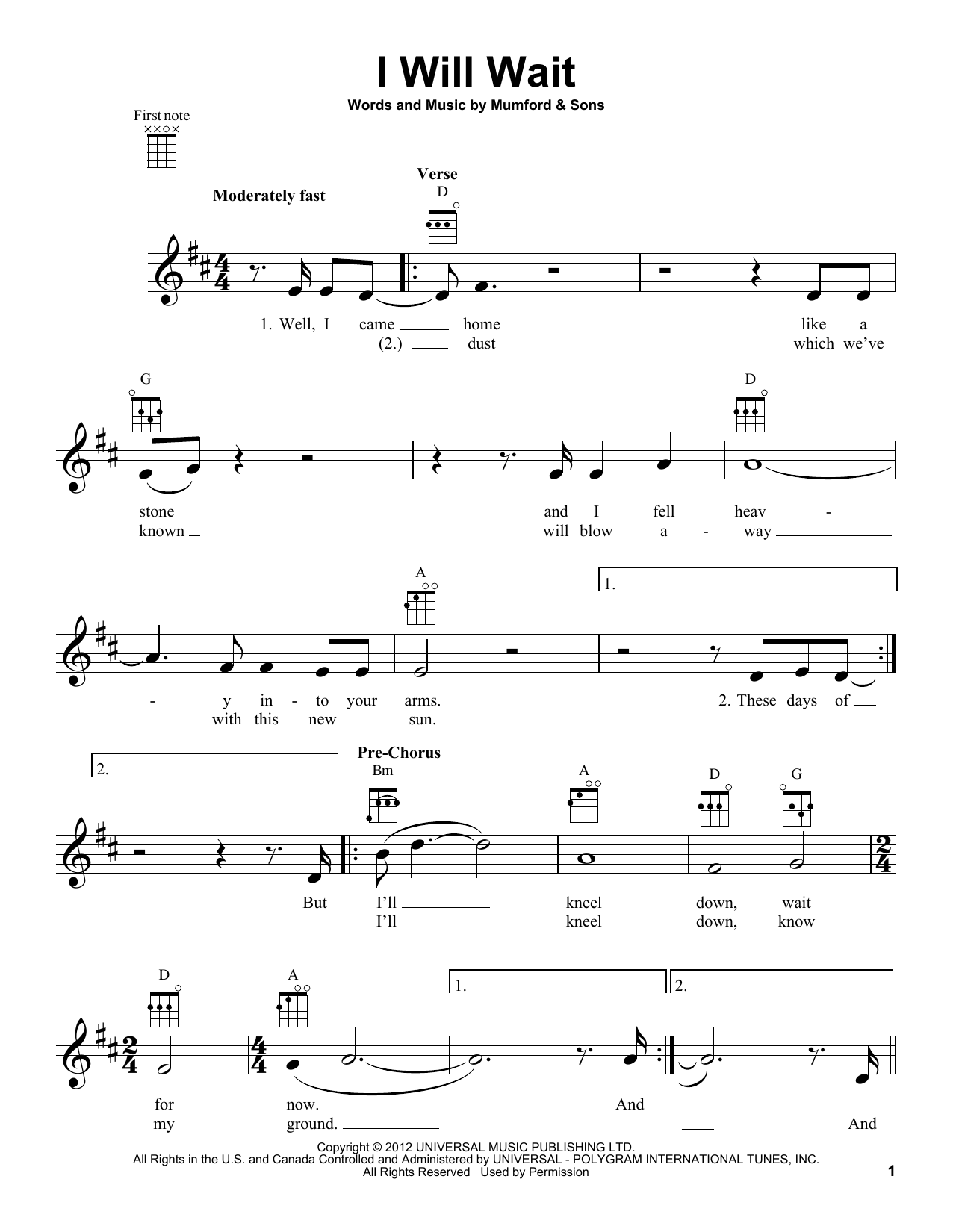 I Will Wait sheet music by Mumford u0026 Sons (Ukulele u2013 155694)