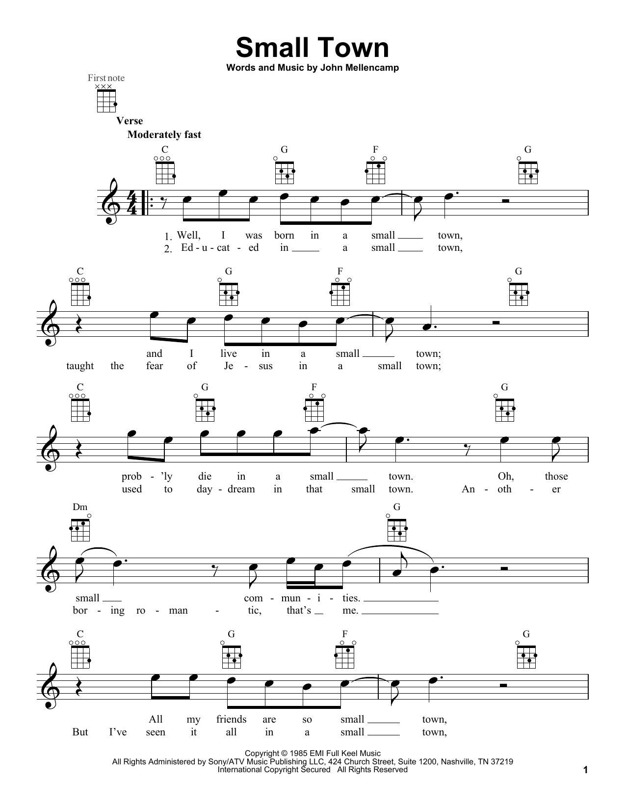 Small Town Sheet Music