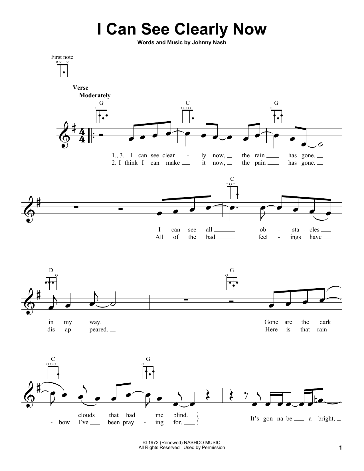 Tablature guitare I Can See Clearly Now de Johnny Nash - Ukulele