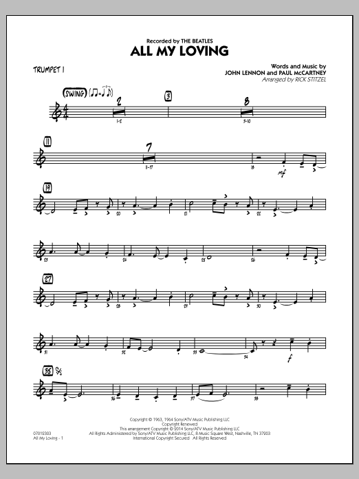 All My Loving - Trumpet 1 (Jazz Ensemble)