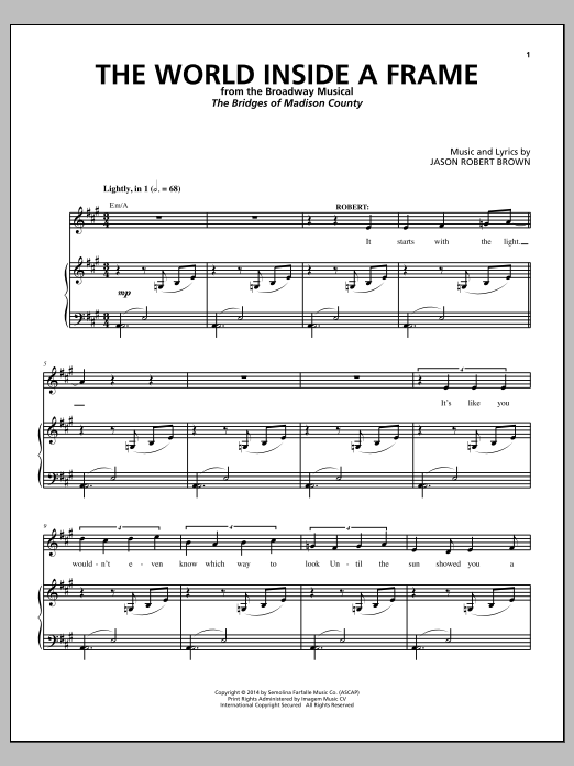 The World Inside A Frame (from 'The Bridges of Madison County') Sheet Music