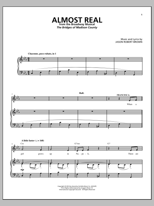 Almost Real (from The Bridges of Madison County) Sheet Music