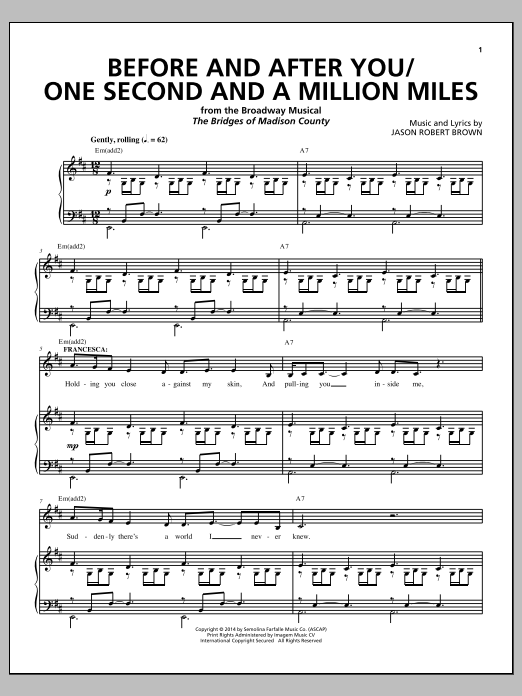 Before And After You/One Second And A Million Miles (from 'The Bridges of Madison County') Sheet Music