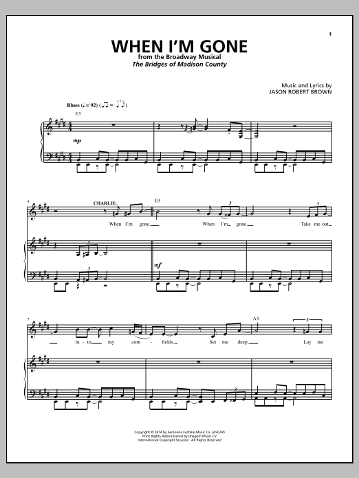 When I'm Gone (from The Bridges of Madison County) Sheet Music