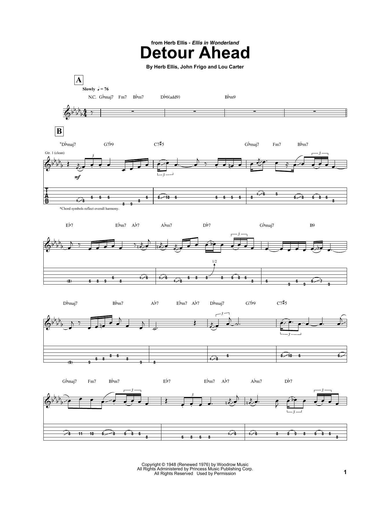 Detour Ahead Sheet Music