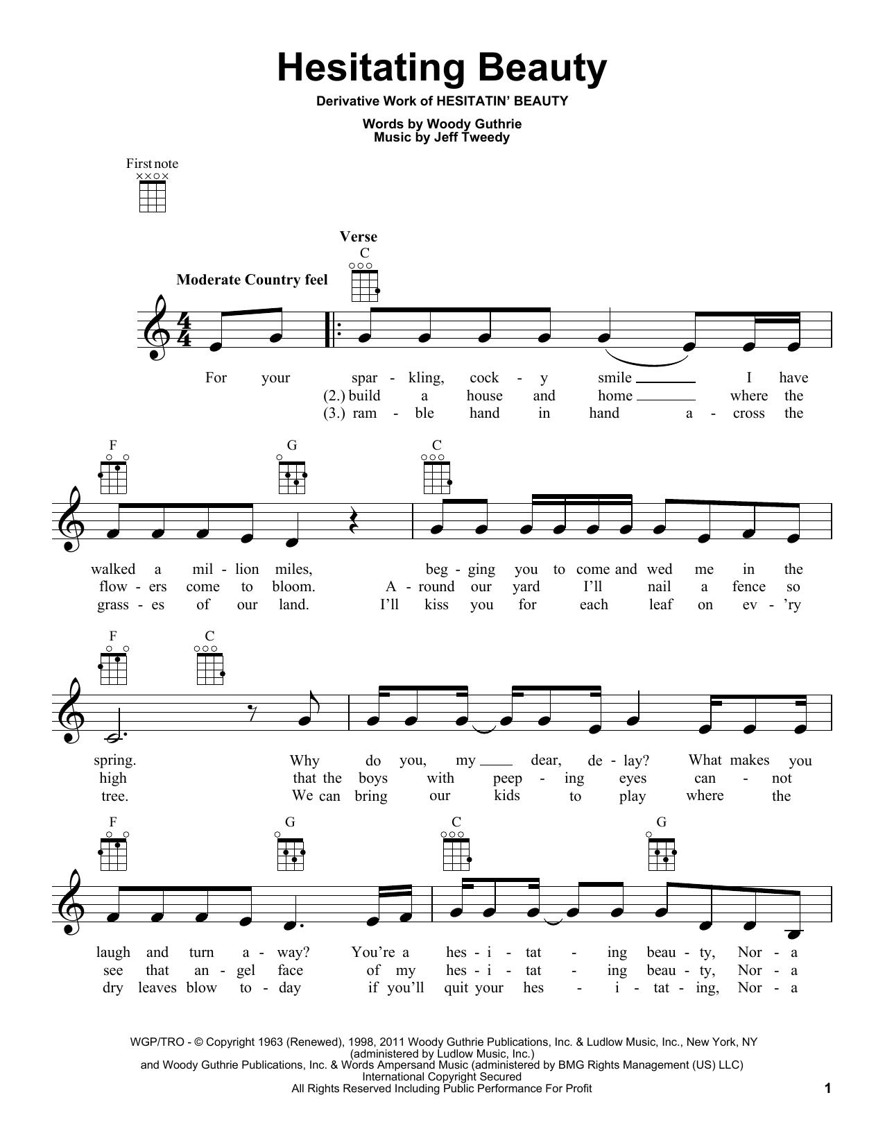 Tablature guitare Hesitating Beauty de Woody Guthrie - Ukulele