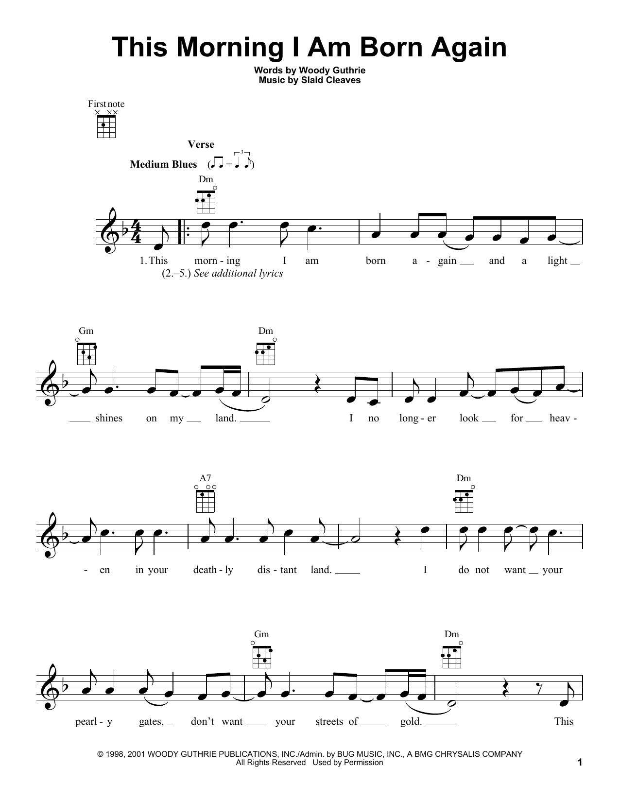 Tablature guitare This Morning I Am Born Again de Woody Guthrie - Ukulele