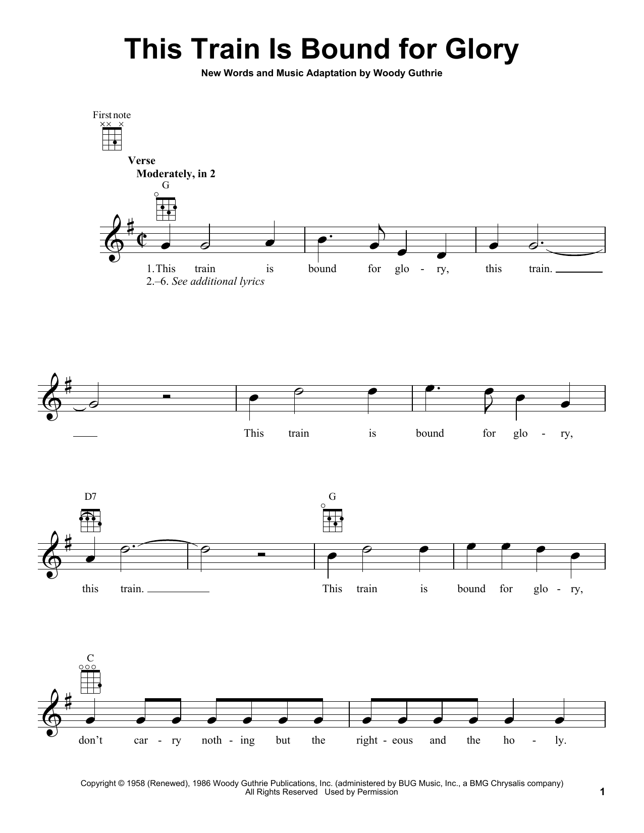 Tablature guitare This Train Is Bound For Glory de Woody Guthrie - Ukulele