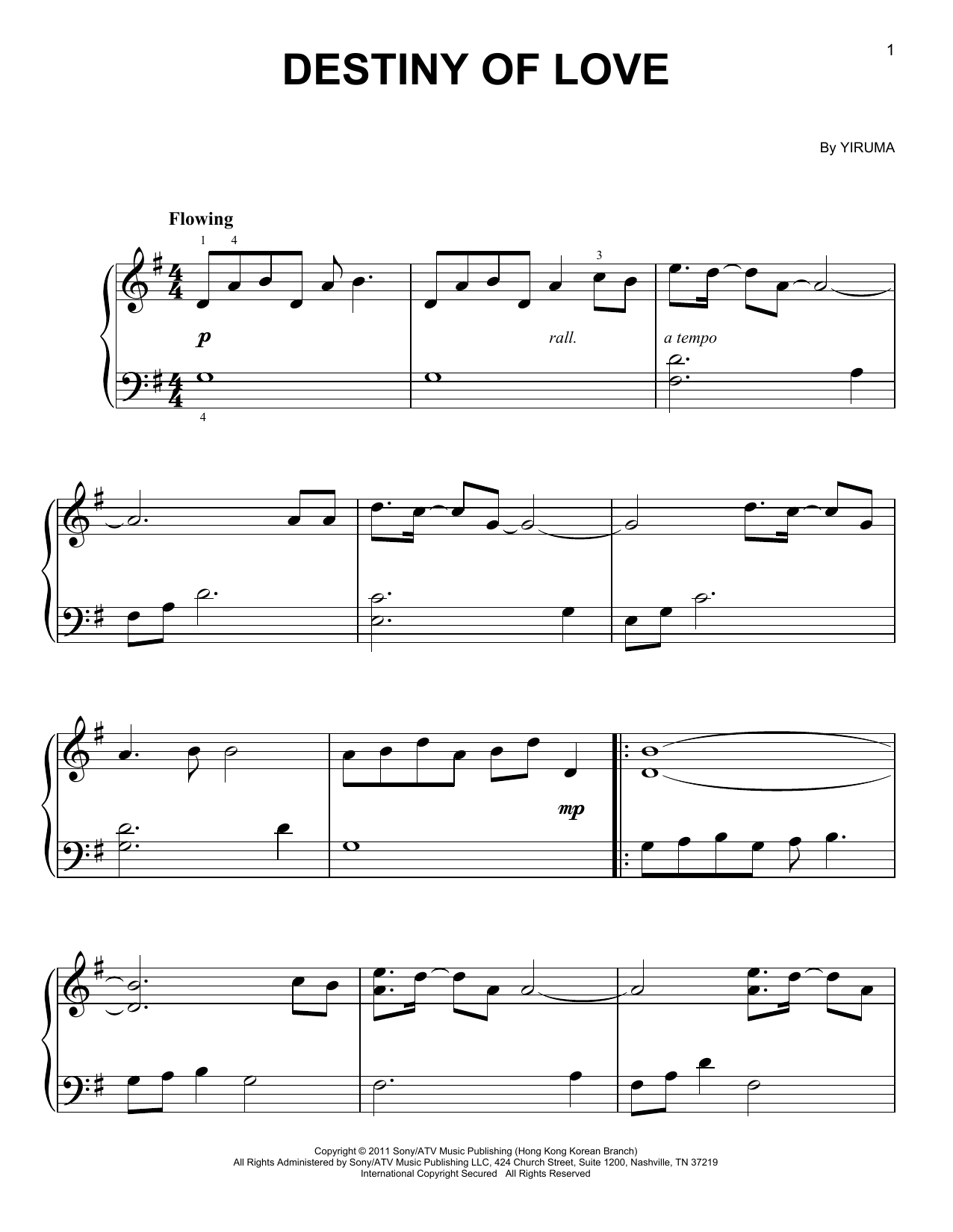 Partition piano Destiny Of Love de Yiruma - Piano Facile