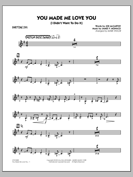You Made Me Love You (I Didn't Want to Do It) - Baritone Sax (Jazz Ensemble)