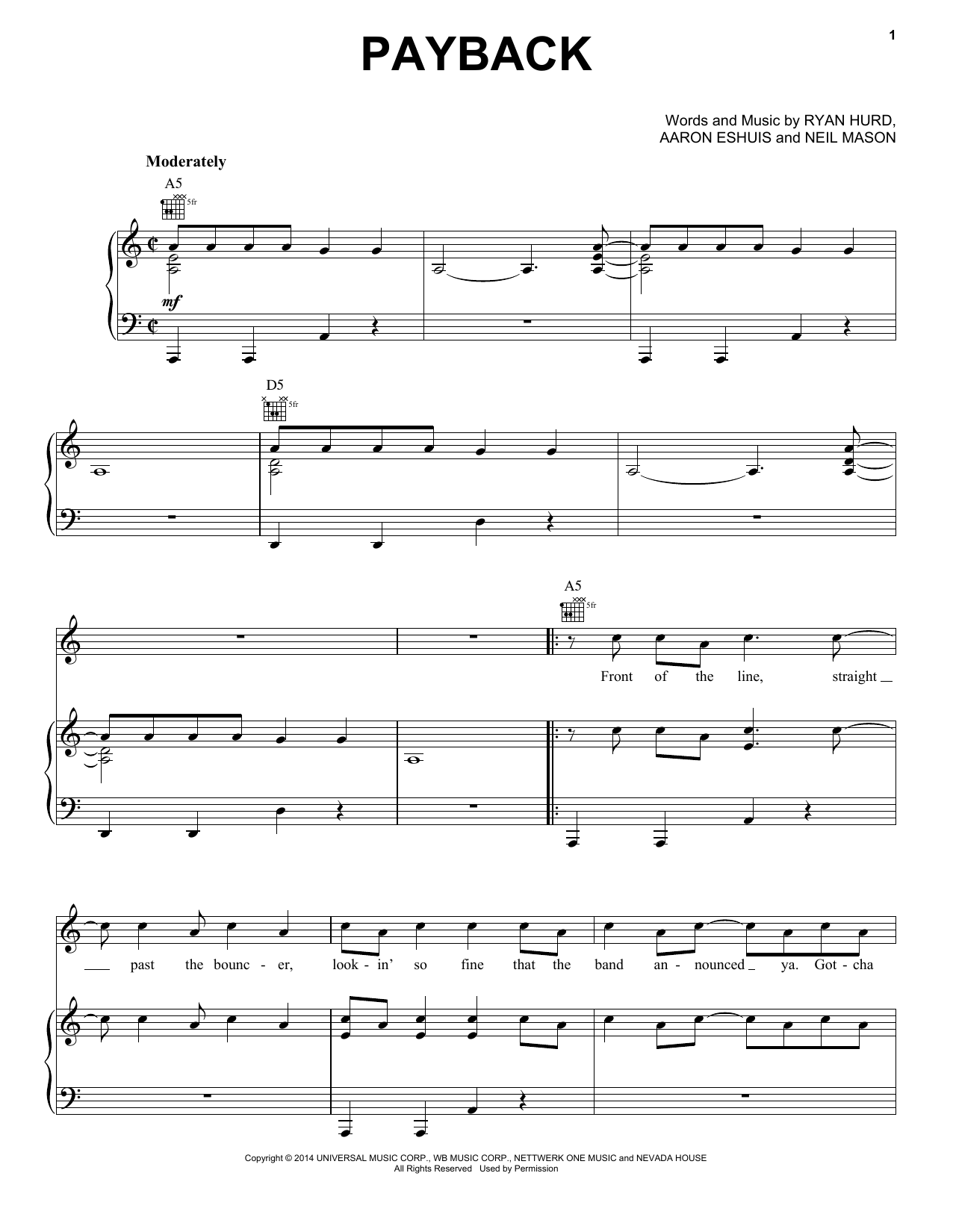 Partition piano Payback de Rascal Flatts - Piano Voix Guitare (Mélodie Main Droite)