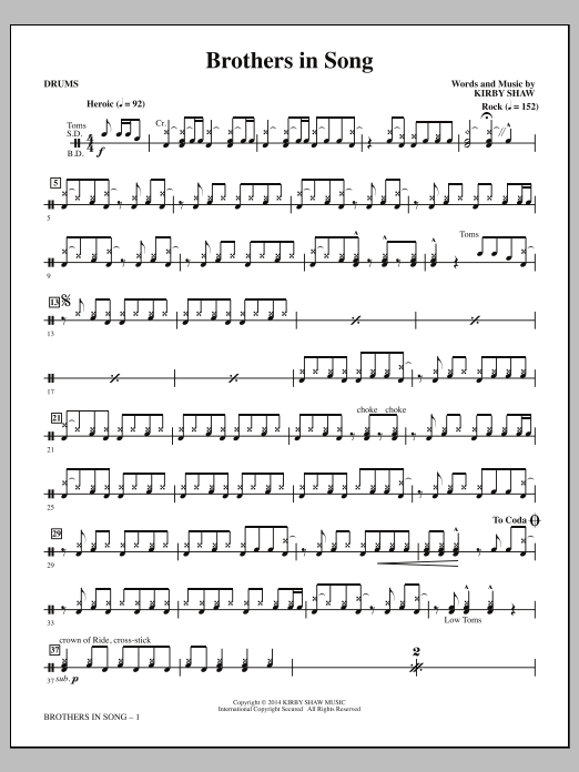 Brothers In Song - Drums Sheet Music