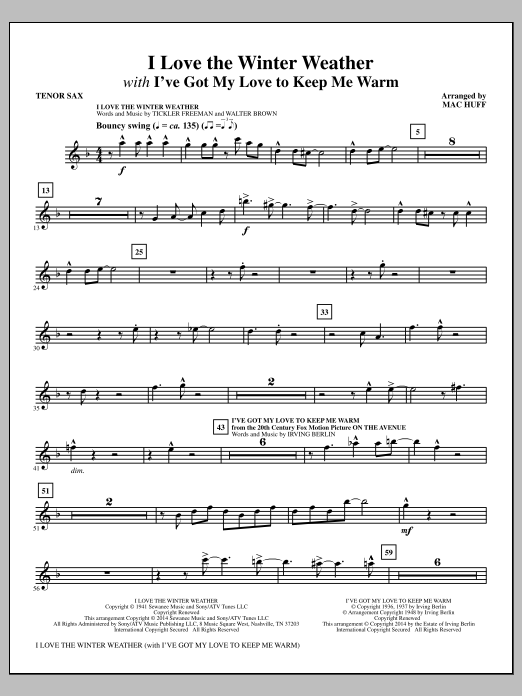 I Love the Winter Weather - Bb Tenor Saxophone Sheet Music