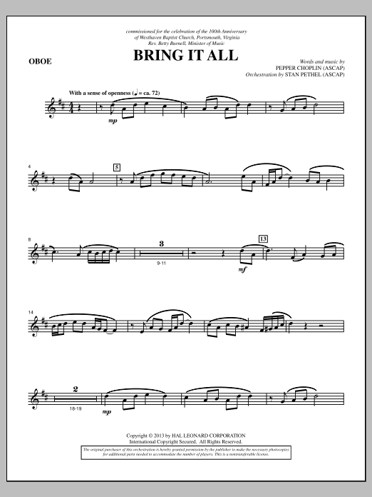 Bring It All - Oboe Sheet Music