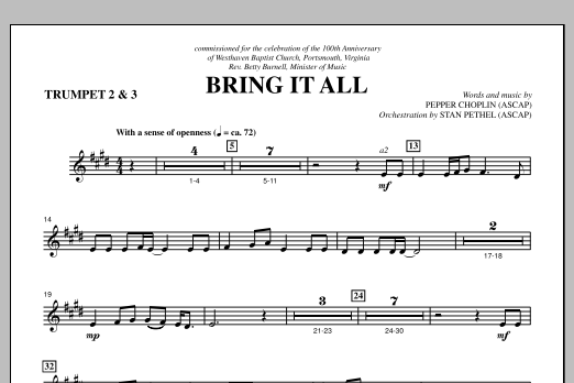 Bring It All - Bb Trumpet 2,3 Sheet Music