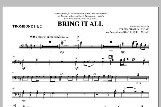 Bring It All - Trombone 1 & 2 Sheet Music