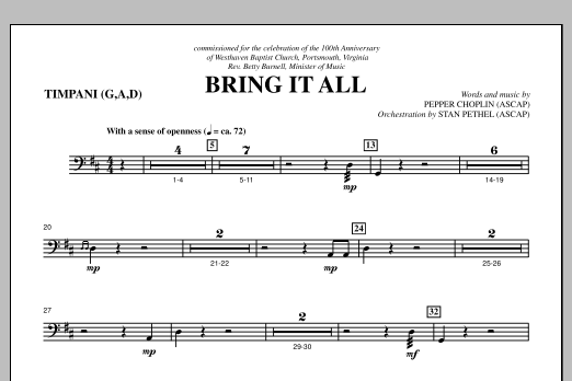 Bring It All - Timpani Sheet Music