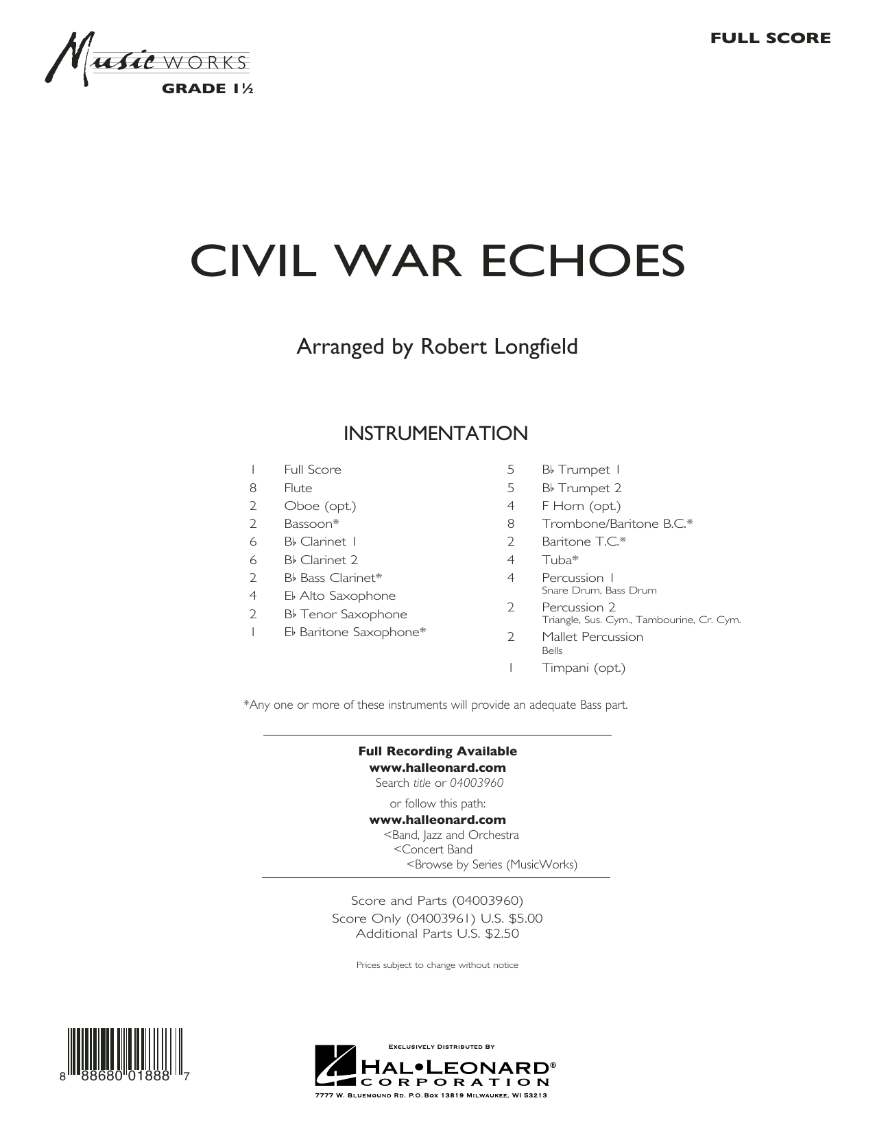 Civil War Echoes (COMPLETE) sheet music for concert band by Robert Longfield. Score Image Preview.