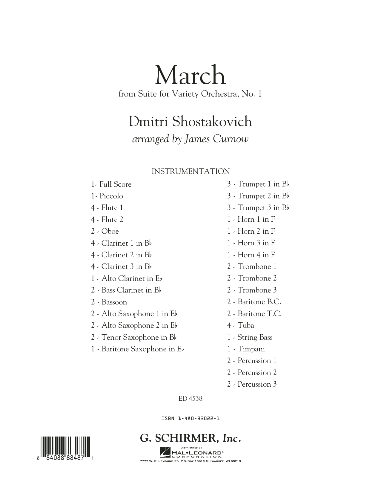 March from Suite for Variety Orchestra, No. 1 (COMPLETE) sheet music for concert band by Dmitri Shostakovich and James Curnow. Score Image Preview.