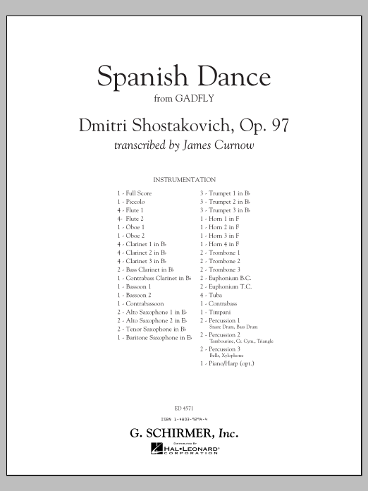 Spanish Dance (from The Gadfly) (COMPLETE) sheet music for concert band by James Curnow and Dmitri Shostakovich. Score Image Preview.