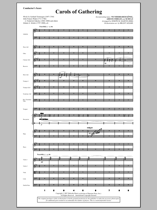 Carols Of Gathering (from Season Of Wonders) (COMPLETE) sheet music for orchestra/band by Joseph Martin and Joseph M. Martin. Score Image Preview.