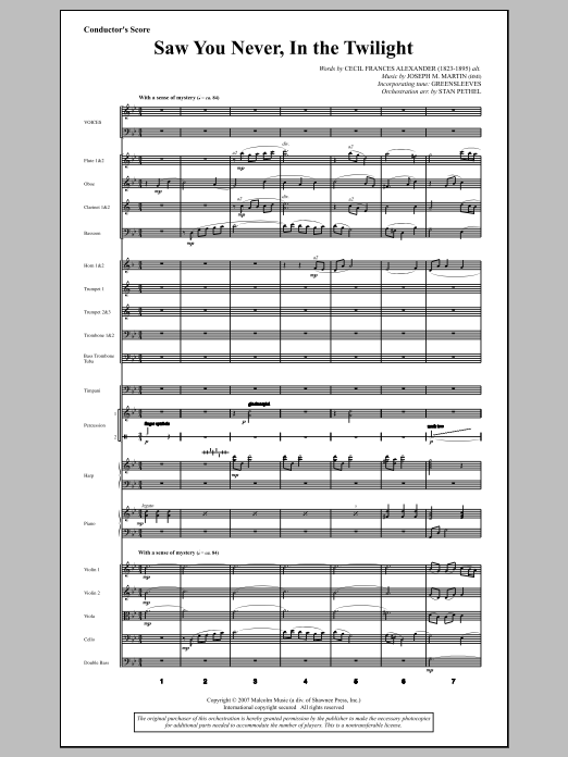 Saw You Never, In The Twilight (from Season Of Wonders) (COMPLETE) sheet music for orchestra/band by Joseph M. Martin and Cecil Alexander. Score Image Preview.