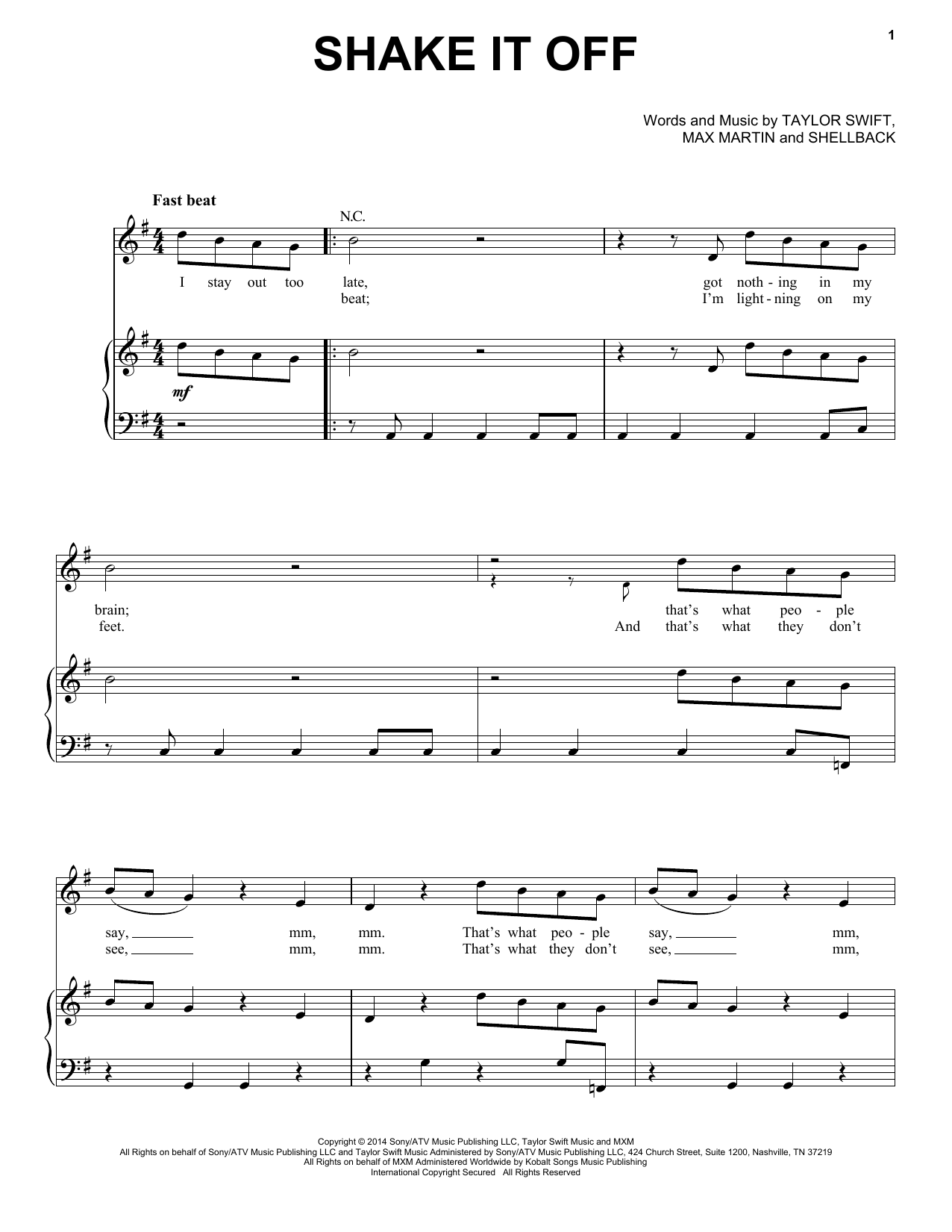 Shake It Off (Piano, Vocal & Guitar (Right-Hand Melody))