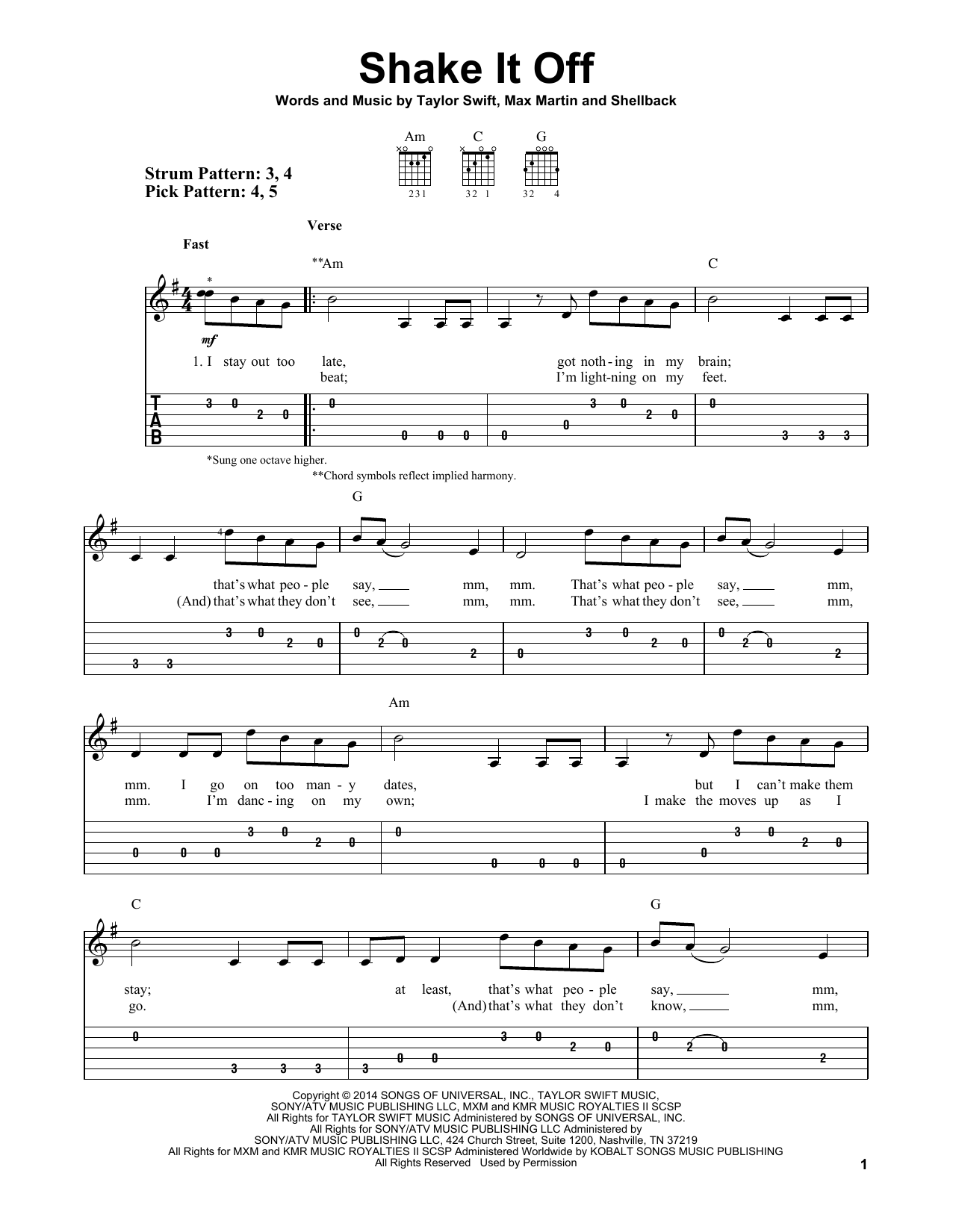 Shake It Off Sheet Music