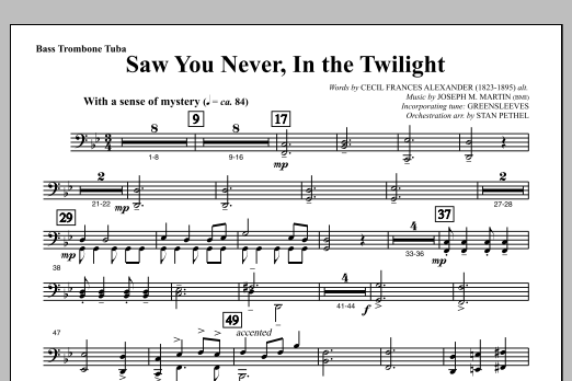 Saw You Never, In The Twilight (from Season Of Wonders) - Bass Trombone/Tuba Sheet Music