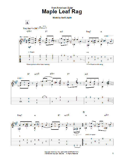 Maple Leaf Rag Guitar Tab by Scott Joplin (Guitar Tab – 155728)