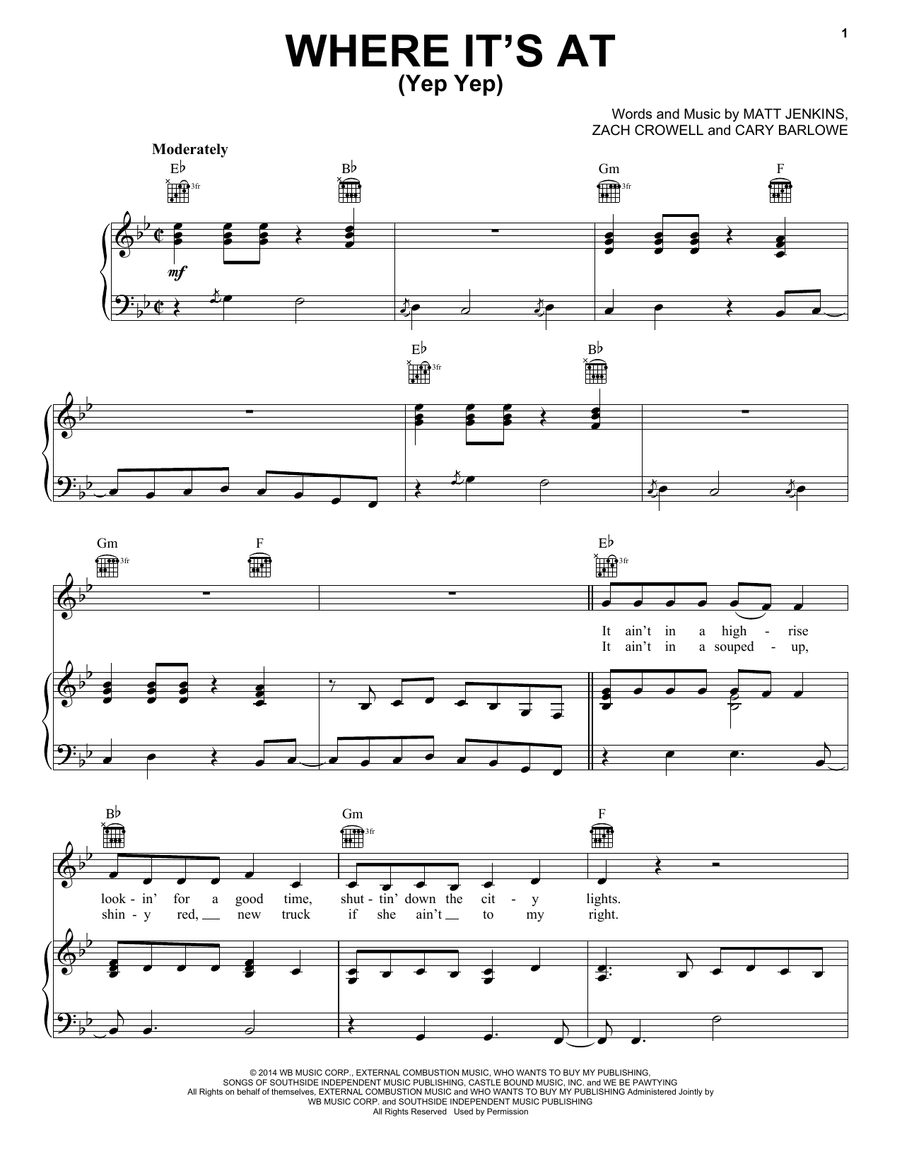 Where It's At (Yep Yep) Sheet Music