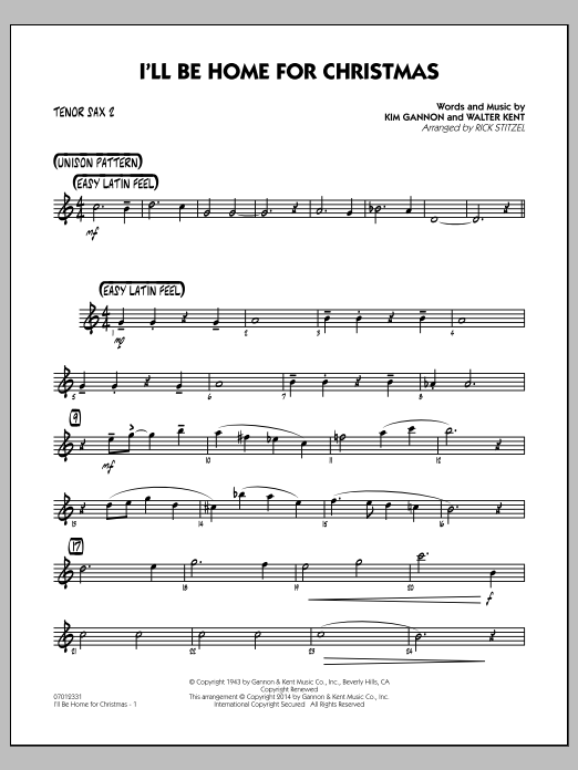 I'll Be Home for Christmas - Tenor Sax 2 (Jazz Ensemble)