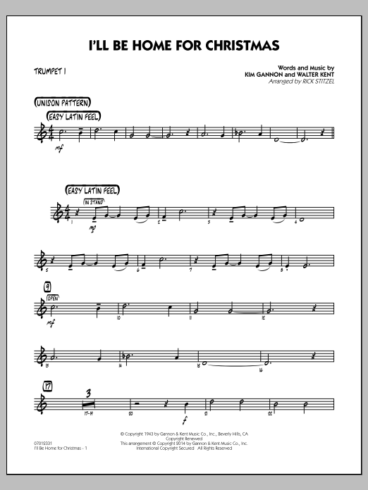 I'll Be Home for Christmas - Trumpet 1 (Jazz Ensemble)