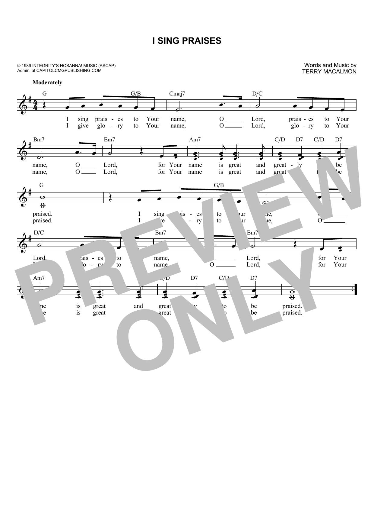 I Sing Praises (Lead Sheet / Fake Book)