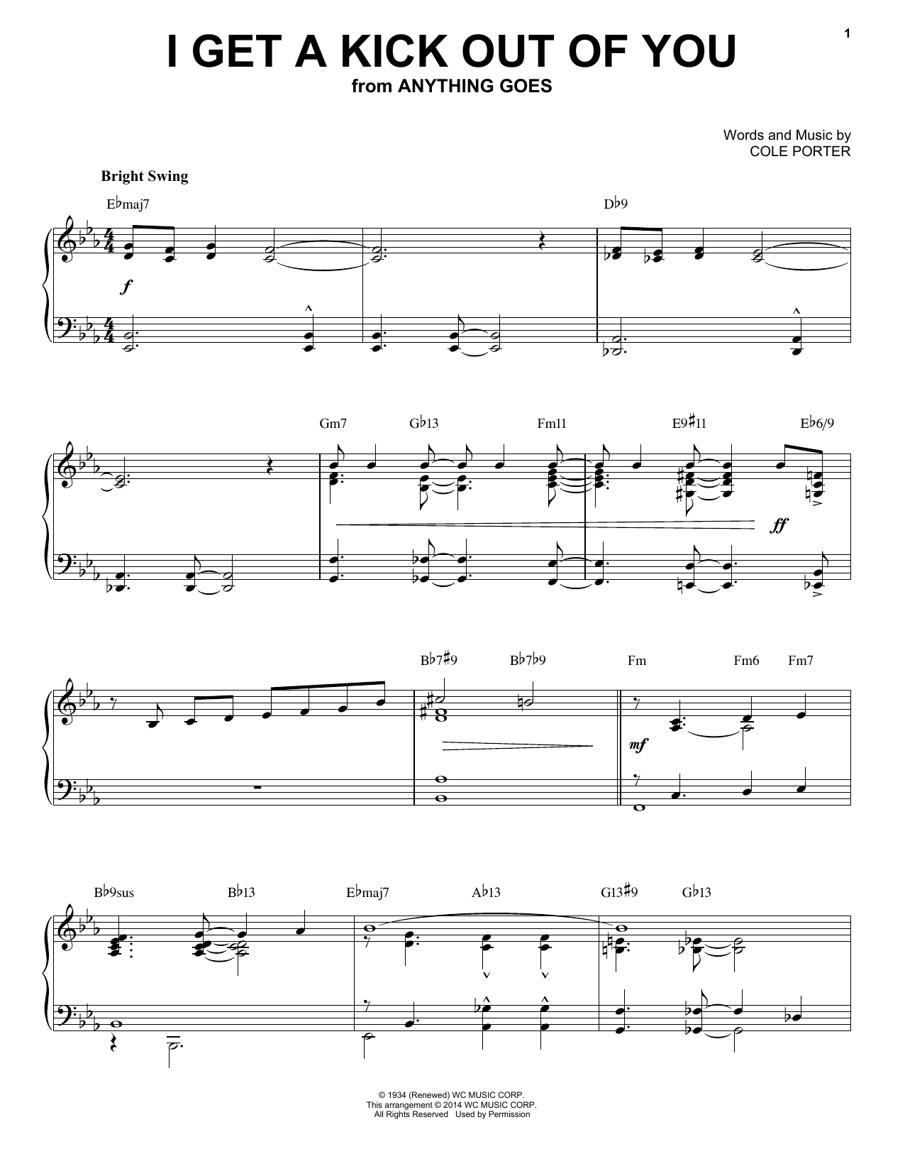Partition piano I Get A Kick Out Of You de Cole Porter - Piano Solo