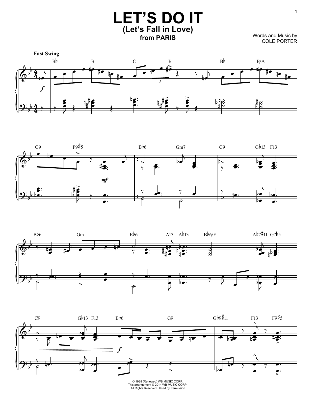 Let's Do It (Let's Fall In Love) [Jazz version] (arr. Brent Edstrom) (Piano Solo)