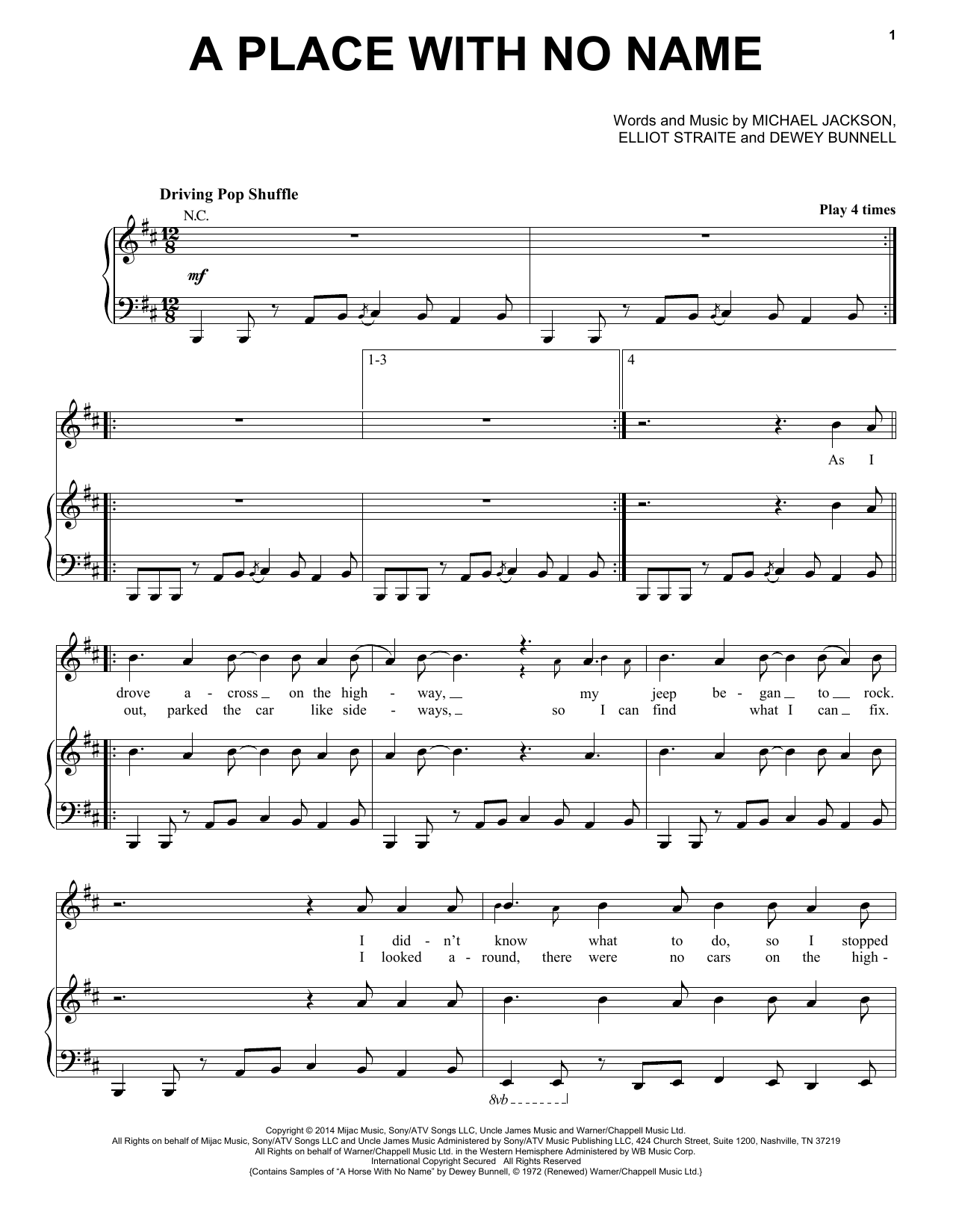 Partition piano A Place With No Name de Michael Jackson - Piano Voix Guitare (Mélodie Main Droite)