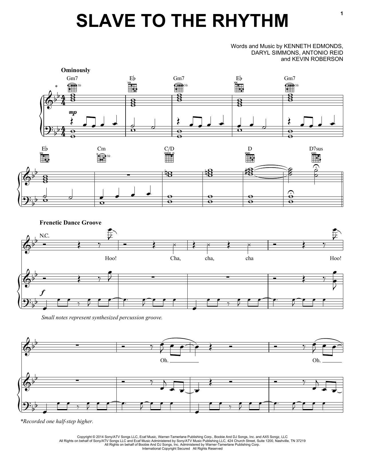 Slave To The Rhythm (Piano, Vocal & Guitar (Right-Hand Melody))