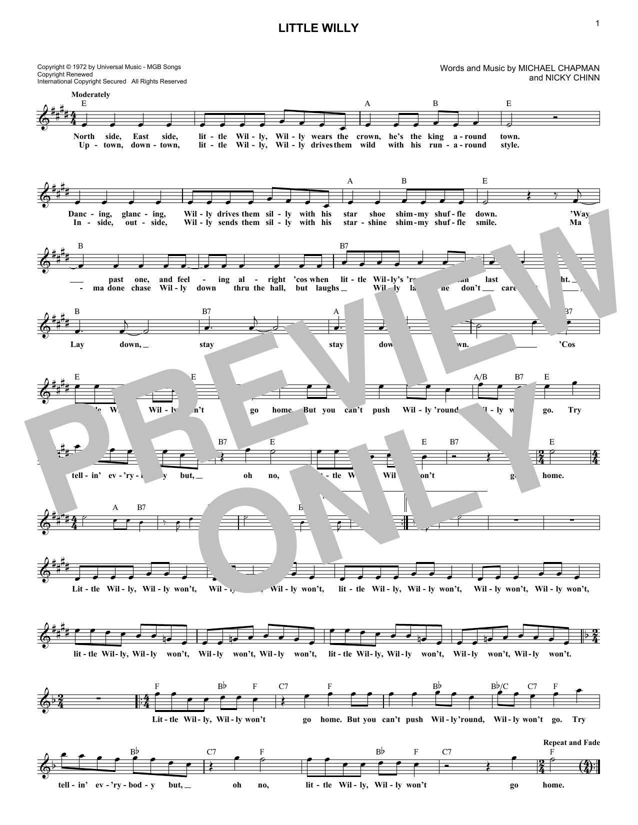 Little Willy (Lead Sheet / Fake Book)