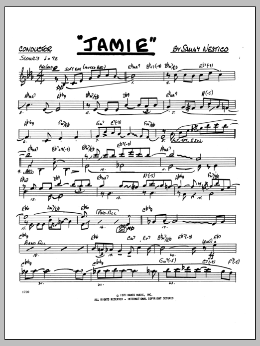 Jamie (COMPLETE) sheet music for jazz band by Sammy Nestico. Score Image Preview.