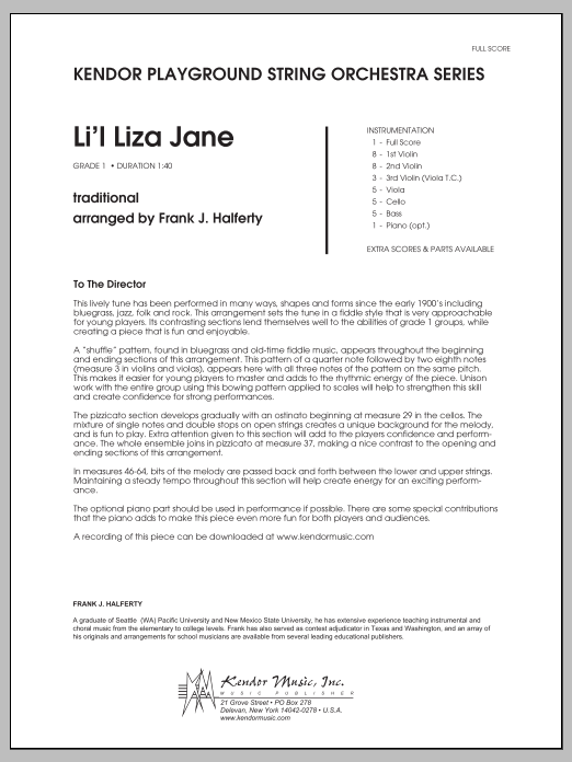 Li'l Liza Jane (COMPLETE) sheet music for orchestra by Frank J. Halferty. Score Image Preview.