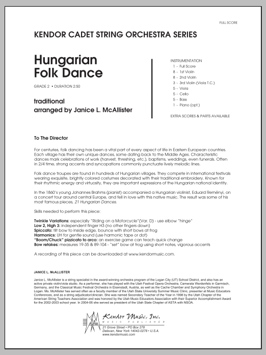 Hungarian Folk Dance (COMPLETE) sheet music for orchestra by Janice McAllister. Score Image Preview.