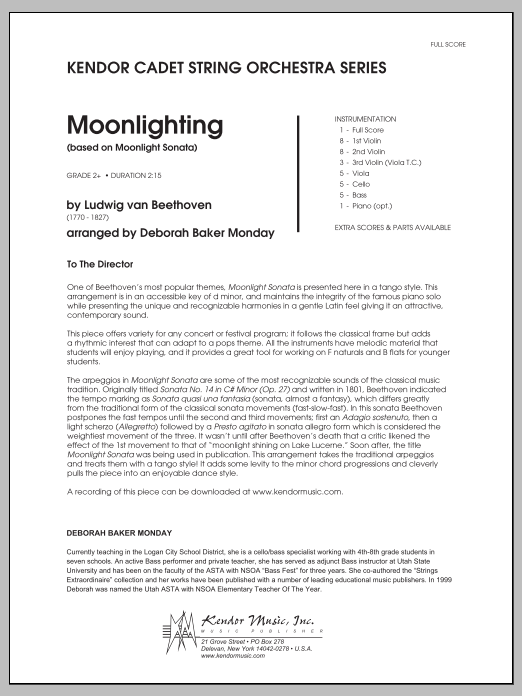 Moonlighting (based on Moonlight Sonata) (COMPLETE) sheet music for orchestra by Deborah Baker Monday and Ludwig van Beethoven. Score Image Preview.