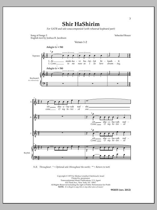 Shir Hashirim Chapter 3 Sheet Music