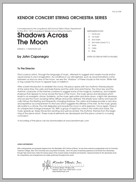 Shadows Across The Moon (COMPLETE) sheet music for orchestra by John Caponegro. Score Image Preview.