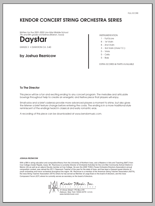 Daystar (COMPLETE) sheet music for orchestra by Joshua Reznicow. Score Image Preview.
