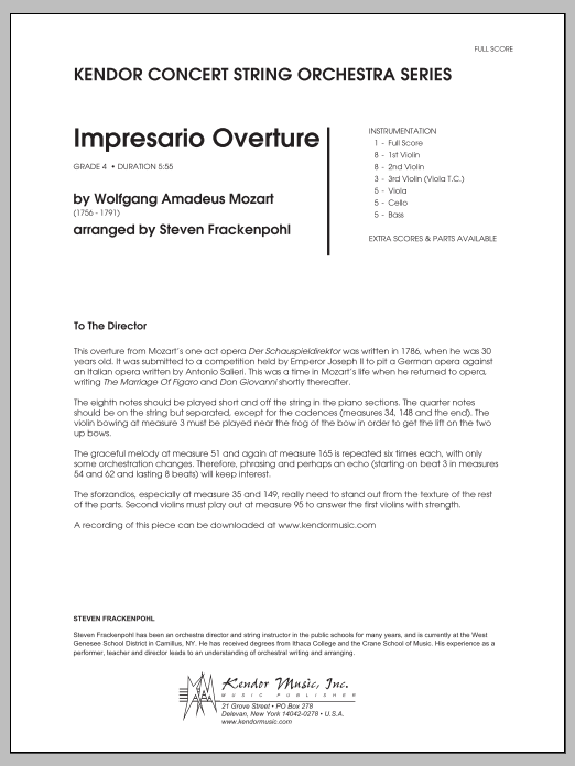 Impresario Overture (COMPLETE) sheet music for orchestra by Wolfgang Amadeus Mozart and Steve Frackenpohl. Score Image Preview.